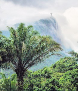 Christ the Redeemer towering over the gardens