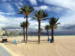 Deserted Benidorm beach in December