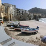 Cefalu harbour and beach