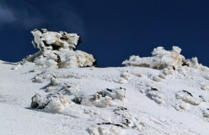 Ice crystals forming on lava near Etna summit