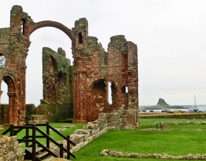 Lindisfarne Priory with Castle in background