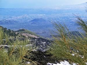 Mt Etna looking down a lava flow towards Catania