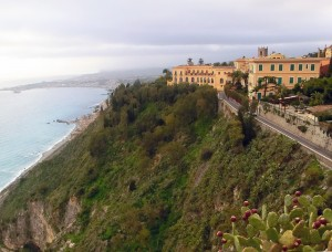 Taormina on a ridge overlooking the Ionian Sea