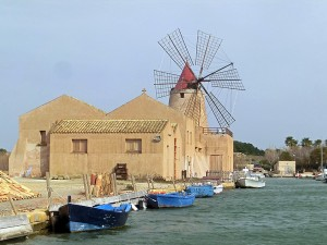 Traditional Sicilian salt mill