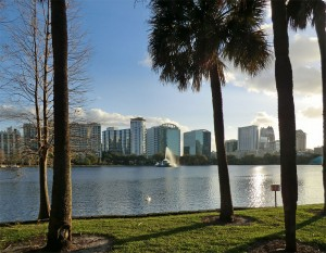 Lake Eola in Orlando, USA where pounds go further