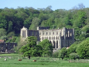 Rievaulx Abbey nestling beneath the Terrace