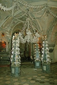 Human bones arranged in Sedlec Ossuary