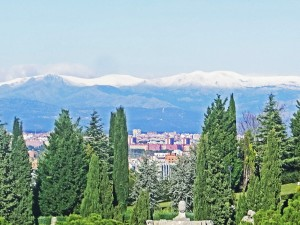 Madrid nestling below the Sierra de Guadarrama range