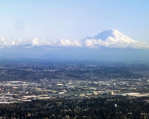 View of Mount Rainier when leaving Seattle International