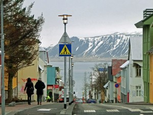 Reykjavik street leading down to the harbour