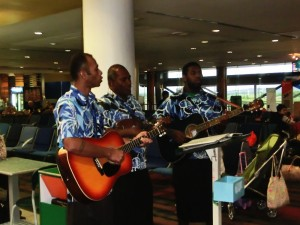 Serenading departing passengers at Nadi Airport