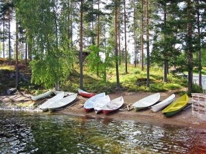 Canoes beached at Punkaharju