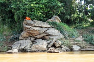 Laos - Monks looking over the river