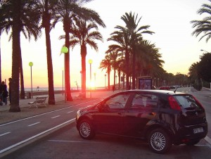 Watching the Sunset from our Hire Car