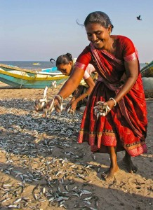 Smile - Fish workers in Andhra Pradesh, India