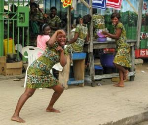 Smile - Street restaurant girls in Accra, Ghana