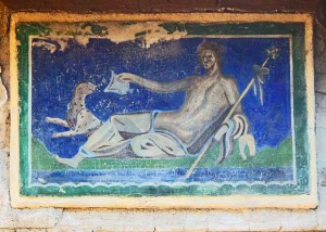 Mural Depicting a Reclining Figure and Leopard