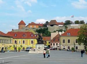 Eger Castle overlooking Istvan Dobo Square