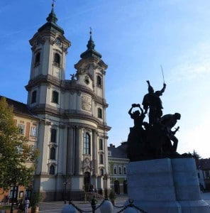 Minorite Church and István Dobó Statue