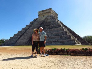 At the El Castillo pyramid in Chichén Itzá
