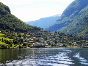 Town on the fjord bank