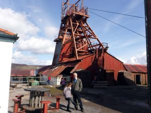 The author and granddaughter at the Big Pit