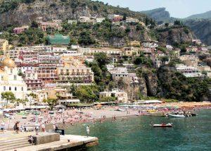 The beach area in Positano