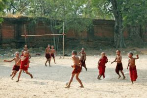 Novice monks at an orphanage