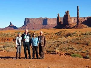 Senior travellers in Monument Valley in Winter