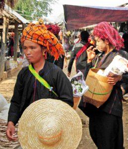 Pa-O women in a village market