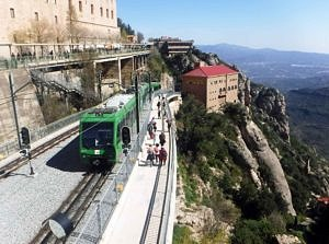 Rack and pinion train in Montserrat