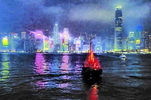Spectacular light show over Victoria Harbour