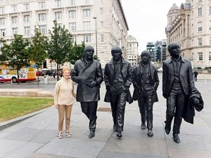 Author's wife with the Beatles statue
