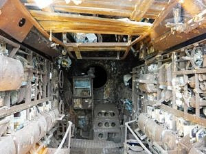 Cramped interior of U-Boat 534