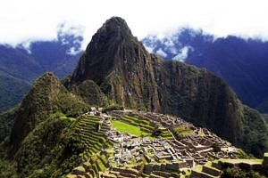 First magnificent, panoramic view of Machu Picchu