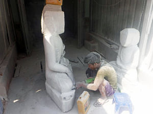 Stone carving in Mandalay