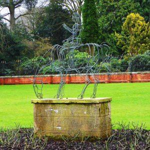 Wire horse statue