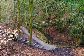 Quarry Bank: Steep path down to the River Bollin